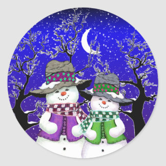 Snowman with a Friend Stickers