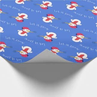 Snowman with a Snowflake Let it snow Wrapping Paper