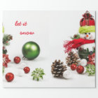 Snowman with baubles and pine cones wrapping paper