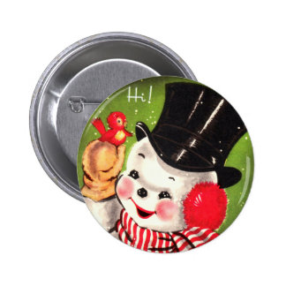 Snowman with Bird 2 Inch Round Button