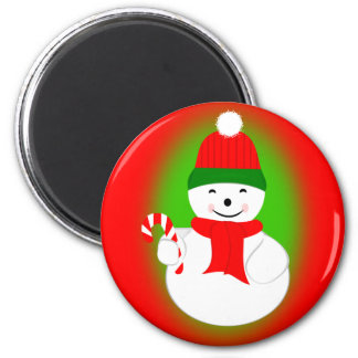 Snowman with Candy Cane 2 Inch Round Magnet