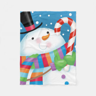 Snowman with Candy Cane Fleece Blanket