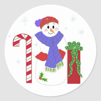 Snowman with Candy Cane Round Sticker