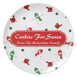 Snowman with Cardinal Cookies For Santa Christmas Plate