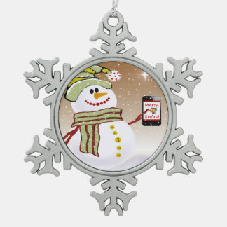 Snowman with cellphone pewter snowflake ornament
