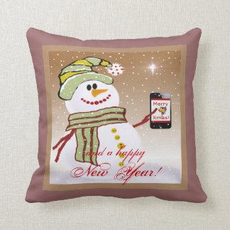 Snowman with cellphone pillow