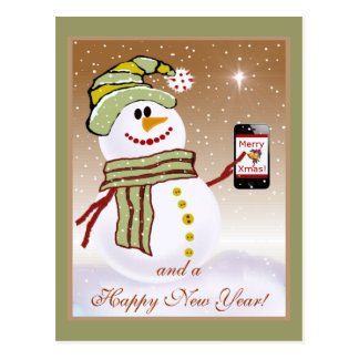 Snowman with Cellphone Post Card