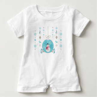 Snowman with Christmas Hanging Decorations Baby Romper