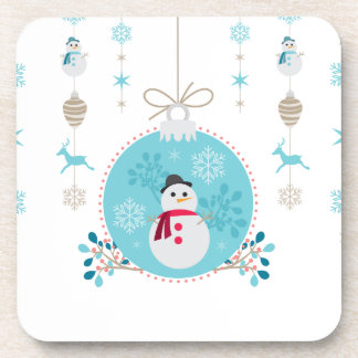 Snowman with Christmas Hanging Decorations Coasters