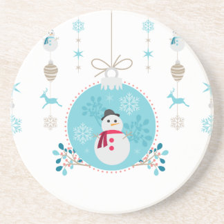 Snowman with Christmas Hanging Decorations Drink Coaster
