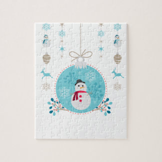 Snowman with Christmas Hanging Decorations Jigsaw Puzzle