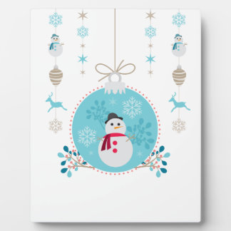 Snowman with Christmas Hanging Decorations Plaque