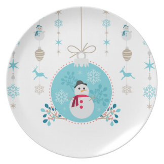 Snowman with Christmas Hanging Decorations Plates
