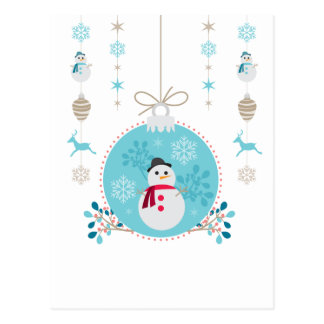 Snowman with Christmas Hanging Decorations Postcard
