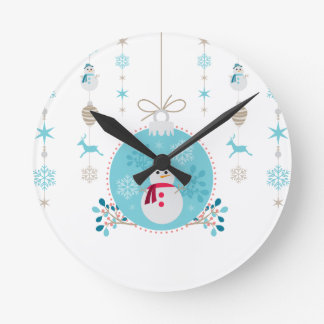 Snowman with Christmas Hanging Decorations Round Clock