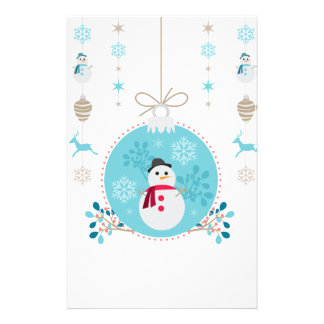 Snowman with Christmas Hanging Decorations Stationery