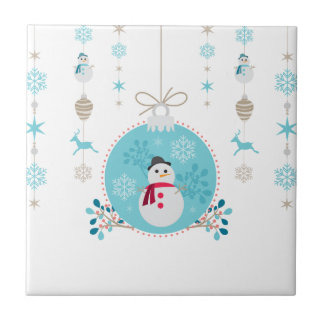 Snowman with Christmas Hanging Decorations Tile