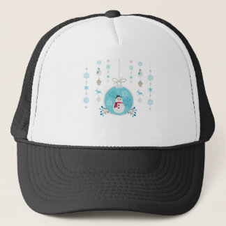 Snowman with Christmas Hanging Decorations Trucker Hat