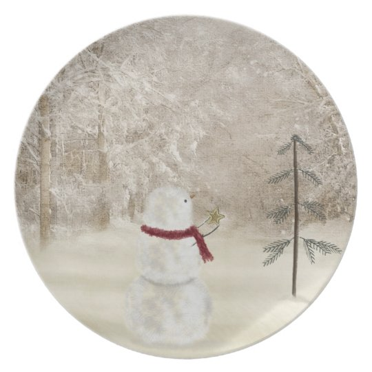 Snowman with Christmas star Plate