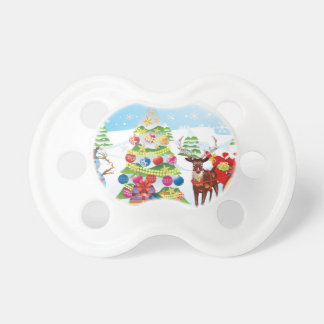 Snowman with Christmas Tree2 Baby Pacifier