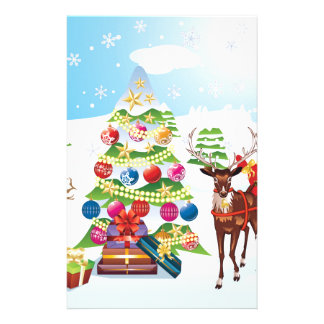 Snowman with Christmas Tree2 Stationery Paper