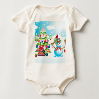 Snowman with Christmas Tree Baby Bodysuit