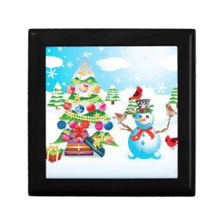 Snowman with Christmas Tree Gift Box