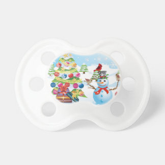 Snowman with Christmas Tree Pacifier