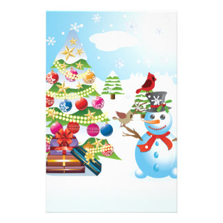 Snowman with Christmas Tree Stationery Paper