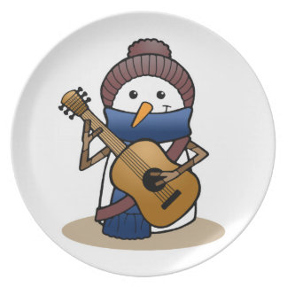 Snowman with Guitar Dinner Plates
