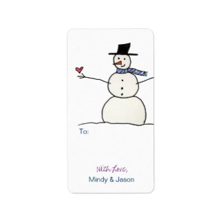 Snowman with Heart Gift Tags
