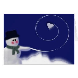 Snowman with heart snowball card