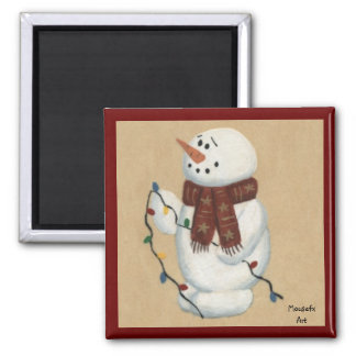 Snowman With Lights Magnet