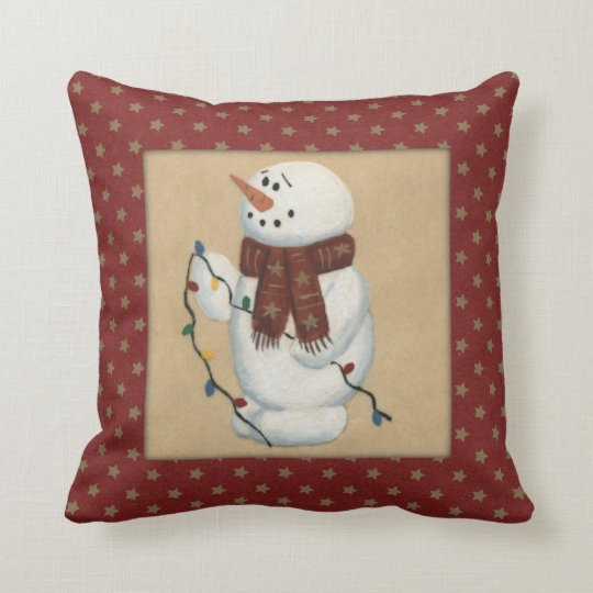 Snowman With Lights Pillow