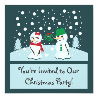 Snowman with Mistletoe Christmas Party Card