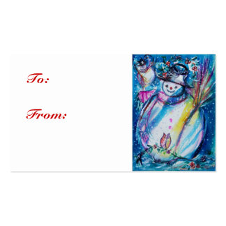 SNOWMAN  WITH OWL ,gift tag Business Card