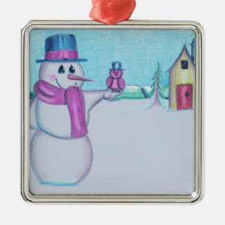 Snowman with Red Bird Folk Art Drawing Silver-Colored Square Ornament