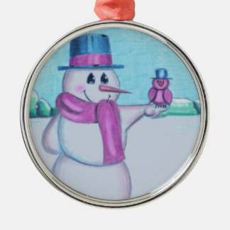 Snowman with Red Bird Folk Art Drawing Ornaments