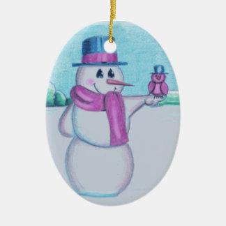 Snowman with Red Bird Folk Art Drawing Ceramic Oval Ornament