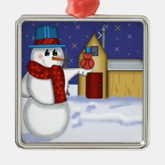 Snowman with Red Bird Folk Art Silver-Colored Square Ornament