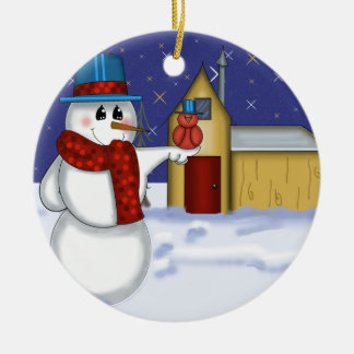 Snowman with Red Bird Folk Art Round Ceramic Ornament