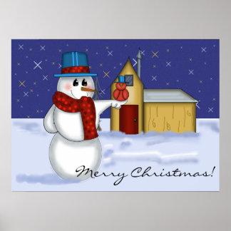 Snowman with Red Bird Folk Art Poster