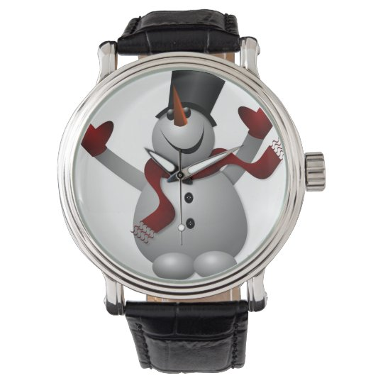 Snowman with Red Scarf Vintage Leather Strap Black Wrist Watch