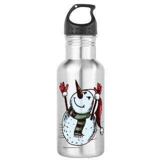 Snowman With Santa Hat - Carrot Nose - Green Scarf 532 Ml Water Bottle