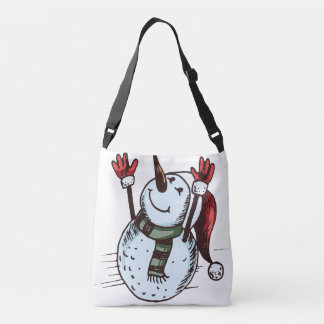 Snowman With Santa Hat - Carrot Nose - Green Scarf Crossbody Bag