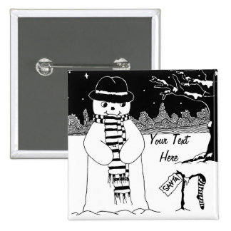 snowman with scarf and hat black and white art 2 inch square button