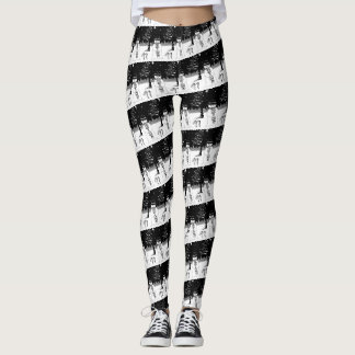 snowman with scarf and hat black and white design leggings