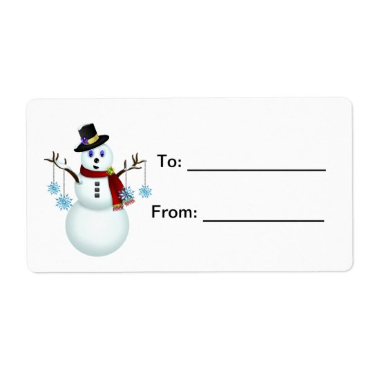 Snowman with Snowflakes Gift Tag