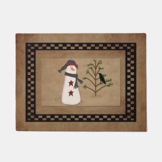 Snowman With Tree Door Mat