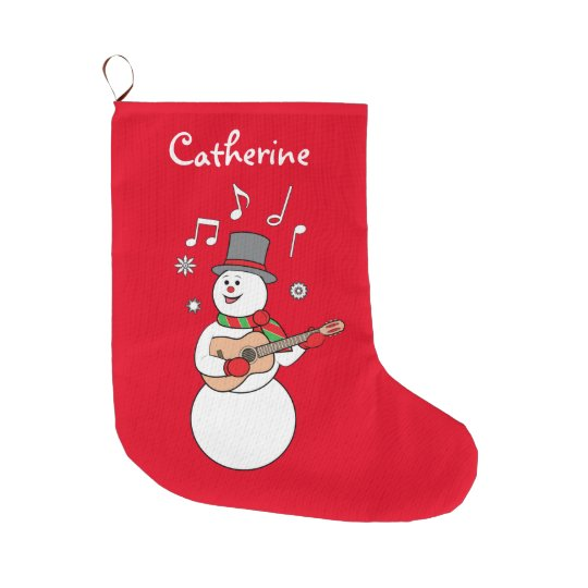 Snowman's Christmas Serenade Large Christmas Stocking